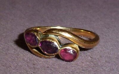 Ancient Roman Gold Ring (tests) 3 Pink Stones Circa 500AD Very Rare Beautiful