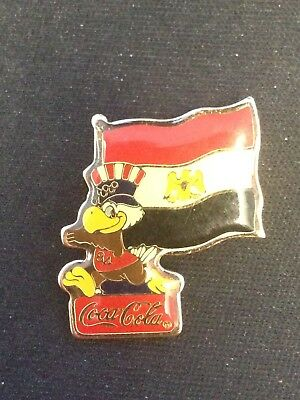Vintage 1984 Los Angeles Olympics Coke Cola Egypt Sponsor Pin Badge #215