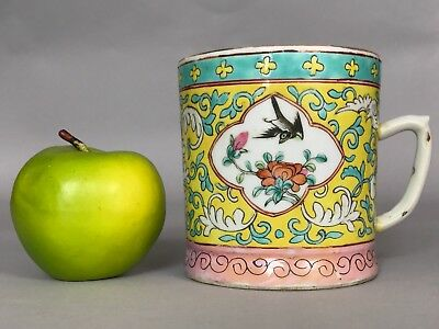 A Chinese famille jaune tankard cup with Tongzhi mark 19thc Qing