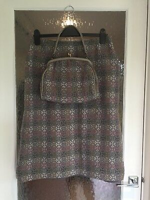 Vintage Welsh Pure Wool Grey Skirt And Matching Bag