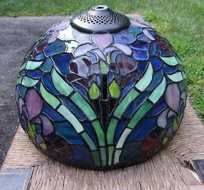 "Vintage Tiffany Style Stained Slag Glass Lamp Shade Iris Flowers 12"" Wide"