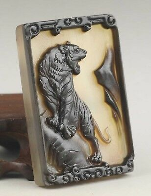 Chinese natural OX horn carved tiger pendant