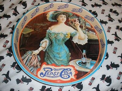 Vintage PEPSI COLA DOUBLE DOT 5 Cent Round Deep Dish Metal Serving Tray