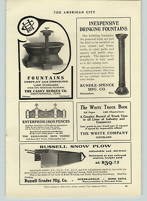1918 PAPER AD Casey Hedges Cast Iron Drinking Fountain Horse trough Russell Plow