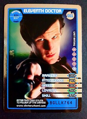 Dr Who Eleventh Doctor #001 Holofoil Rare Trading Card