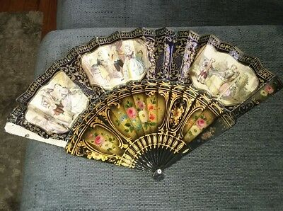 Fine Antique Victorian Hand Painted French Ornate Hand Fan W/gold 2 Sided Rare