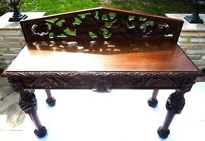 Victorian Carved Oak Hall Table with 2 drawers