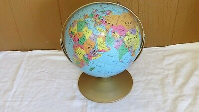 "Vintage Rand McNally 16"" Simplified Political World Globe 360 Swivel Metal Base"