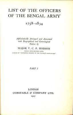 List of the Officers of the Bengal Army 1758-1834, Major V.C.P. Hodson, Good Con