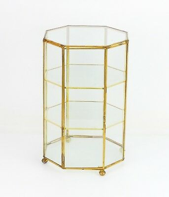 "Large 10.5"" x 7"" Brass & Glass Octagonal Trinket Display Curio Cabinet Case"