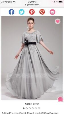 JJ's House Mother of bride NEW plus 20 floor length chiffon silver/gray