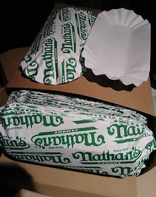 "6"" Fluted Nathans Paper Hot Dog Trays, 500 Trays per CASE"