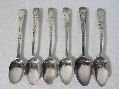 Antique Sterling Silver Sugar Spoon Lot of 6 - English Hallmarks