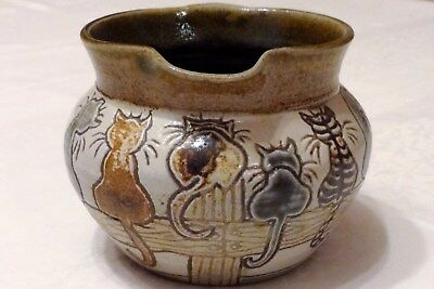 Michael Mosse Llanbrynmair Salt Glazed Studio Pottery Jug - Cats