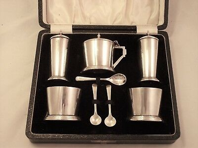 Cased Five Piece Art Deco Solid Silver Cruet / Condiment Set Birmingham 1950