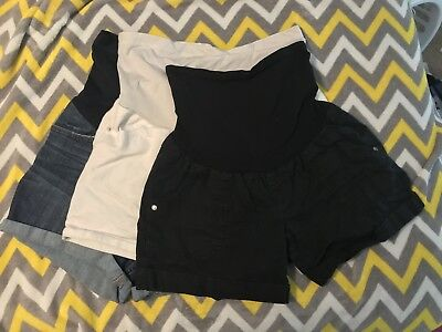 Liz Lange And Two Hearts Maternity Short Lot Of 3- Over The Belly Style! Large!