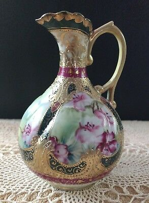 Rare Antique Nippon Hand Painted/Gold Gilded Ewer Pitcher