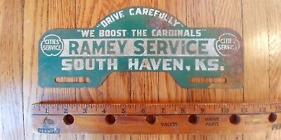 CITIES SERVICE South Haven Kansas Tag License Plate Topper Hot Rod Rat Ramey