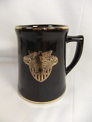 WEST POINT USMA BLACK w/GOLD TRIM MUG NORSID CERAMICS, COUNTRY HONOR DUTY