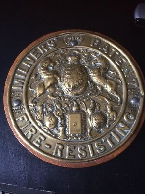 Vintage Milners 212 Patent Fire Resisting Mounted Plaque
