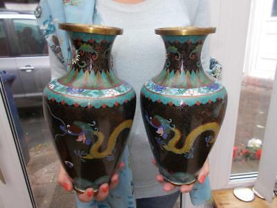 Pair Large Chinese Cloisonne Vases Dragons Chasing Flaming Pearl Knowledge 1900