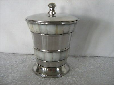 Unusual Stainless steel & mother of pearl? inlay lidded sugar bowl / tea caddy