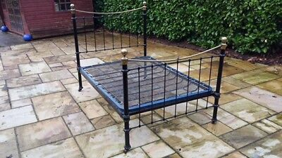 Victorian brass and iron standard double bed WITH original sprung base