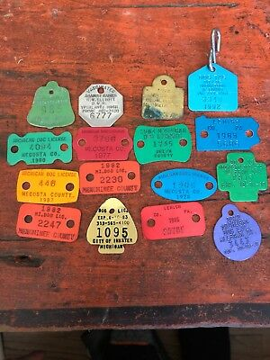 Vintage Lot Of (16) Dog Tax Tags No Reaerve!