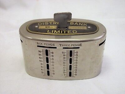 Vintage 'district Bank Limited Money Box With Key - Pre-Decimal