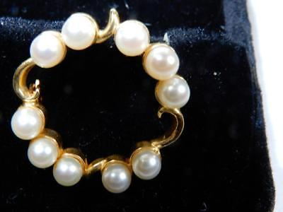 Circle pearls and 14K gold pin brooch 1 inch diameter weight 4.6 grams