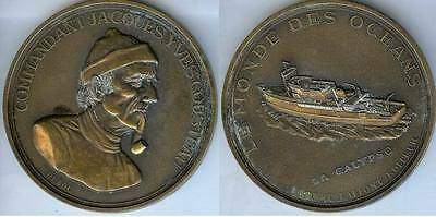 Médaille de table - LA CALYPSO Cdt Jacques-Yves COUSTEAU d=90mm bronze DUBOC scu