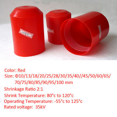 10~100mm Red Adhesive-Lined 2:1 Heat Shrink End Cap Tubing 35KV End Protection