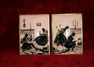 VINTAGE PAIR SILHOUETTE PICTURES IN FRAMES COUPLE at HOME 2 POSES