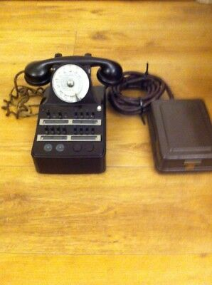 French Mottled Brown Bakelite Office Telephone + Watch Receiver Good Condition