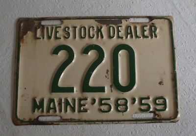 1958-59 Maine Livestock Dealer License Plate Tag Topper 220