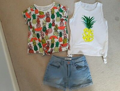 Girls Clothes Bundle Age 10-11 Tops Shorts Pineapple Melon NEXT