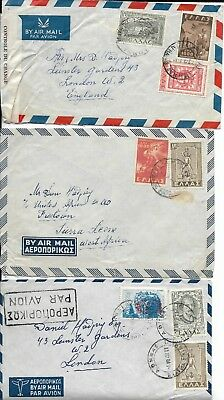 3 Airmail Covers with Greek Stamps