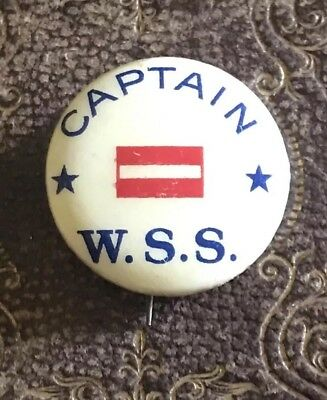 WWI W.S.S. Pinback WAR SAVINGS SERVICE CAPTAIN button with History