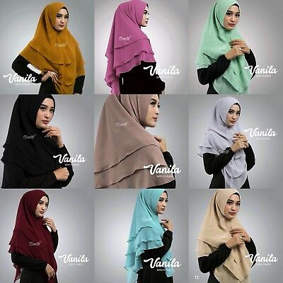 Vanilla Mini Khimars Instant Hijab One Piece Slip On Scarf Long Jilbab Abaya