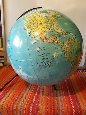 "Rare 1970's Mid Century  Georama 14"" Inflatable Globe on Rotating Iron Stand"