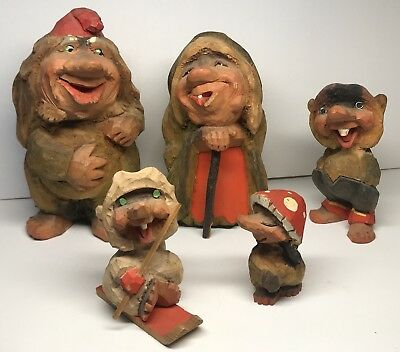Vintage Norway Hand Carved Wooden Troll Lot 5