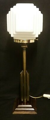 Original 1930s Art Deco Odeon Stepped shade on Art Deco Style Stepped Base PWO