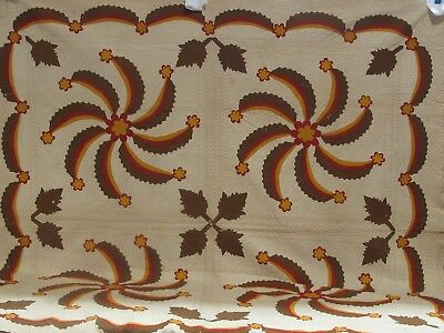Antique  Princess Feather Quilt Madder Brown. Red and Cheddar on White c.1850