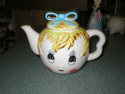 Vintage PY JAPAN Coronet Anthropomorphic BLOND GIRL TEAPOT Blue Bow