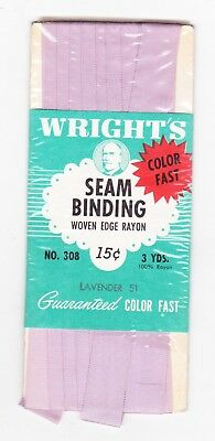 Wright's Lavender 51 No. 308 Seam Binding Rayon New In Package Pre 1964