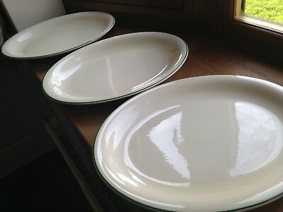 3 Large Oval Plate/Platter-Cream with Green Band No Makers Marks 36.5 wide VGC