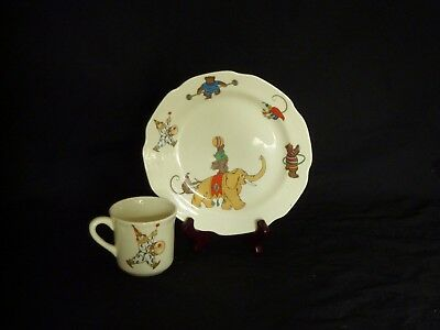 Vintage Child's Plate with Cup Circus Animals