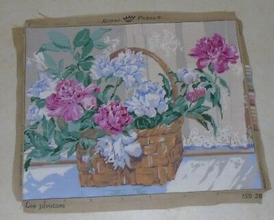 Large Completed  Royal Paris French Tapestry - Les Pivoines 24 x 19 inches -