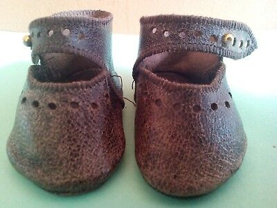 Original Antique Vintage Pair of Leather Dolly Shoes Boots  - French Bisque Doll