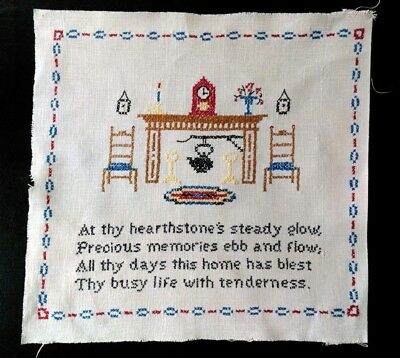 Finished Needlepoint Cross Stitch Sampler Linen Home Hearth Fireplace Quote Poem
